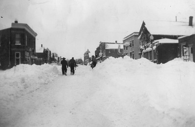2009.033.1.15--print 3x4.5--C&NW--scene Main Street looking north after snowstorm--Cuba City WI--1953 0100