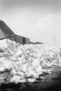 2009.033.1.03--print 2x3--C&NW--boxcars on team track being loaded with corn after snowstorm--Livingston WI--1953 020