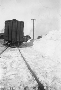 2009.033.1.02--print 2x3--C&NW--freight train 628 picking up load of stock after snowstorm--Livingston WI--1953 020