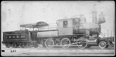2019.002.02--cabinet card--L&HR (Lehigh & Hudson River)--camelback steam locomotive 2-6-0 John Rutherford--location unknown--no date
