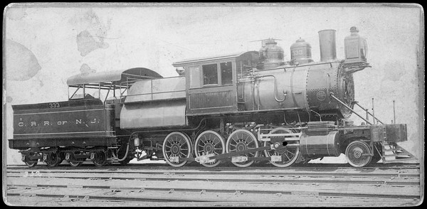 2019.002.03--cabinet card--CRRofNJ (Central Railroad of New Jersey)--camelback steam locomotive 2-8-0 33--location unknown--no date