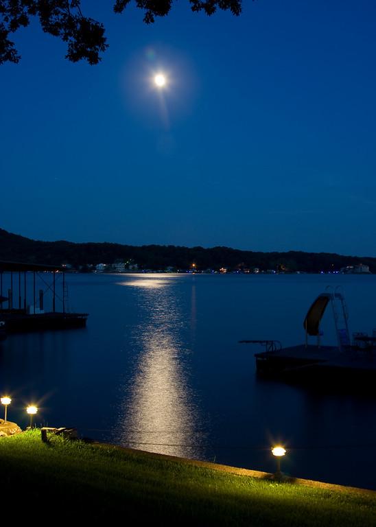 Moonrise over the lake.