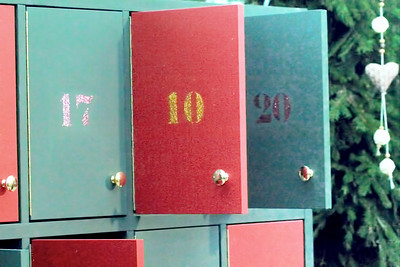 An advent calendar cabinet as an Advent Market in Vienna.
