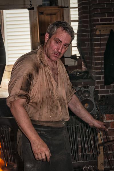 Blacksmith, James Anderson's Blacksmith Shop, Colonial Williamsburg, Virginia