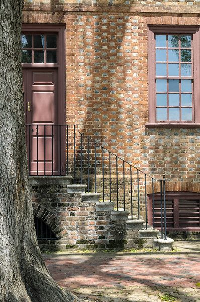Steps to front door, Ludwell-Paradise House, Colonial Williamsburg, Virginia