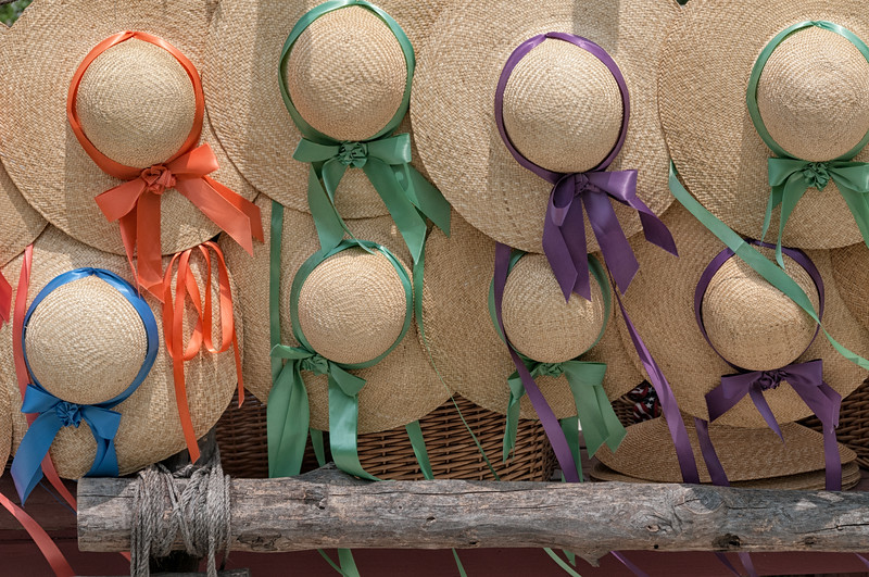 Ladies Straw Hats with Colorful Ribbons, Colonial Williamsburg, Virginia