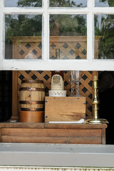 Open shop window displaying sales items, Colonial Williamsburg, Virginia