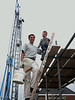 Stijn and Robert climbing the scaffolding