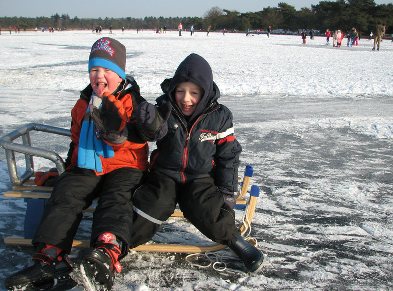 "Stijn and Jorg sledging at ""het ouwe meer"""