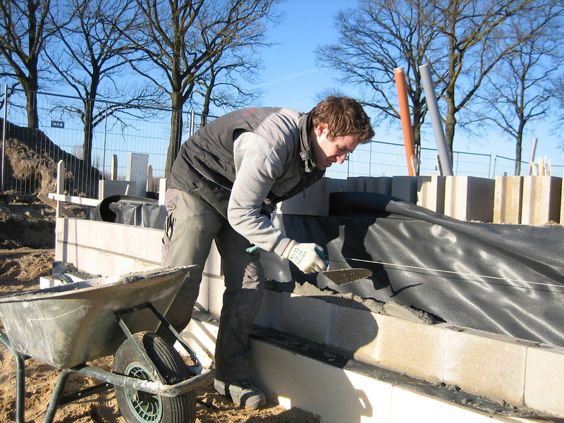 Paul bricklaying up to standard level