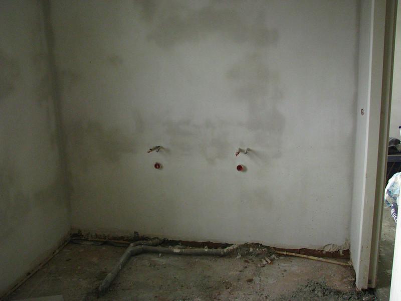 preparations of the washbasin wall