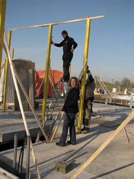 Saskia visiting the building site