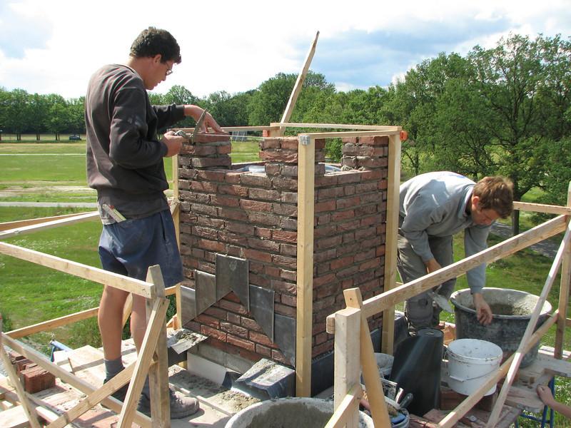 Bricklaying  the chimney