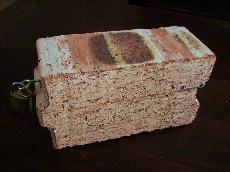 A filled Poriso brick, building team wedding present of Paul and Linda