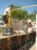 Paul and Erik van Gastel bricklaying the inner walls of the first floor