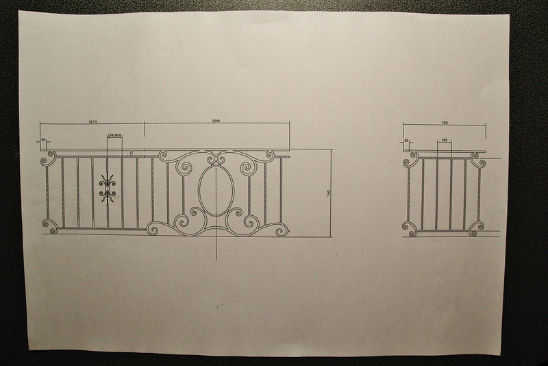 Measurements of the balcony fence, part B, A and C