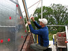 "Marijn measuring and rectifying the upright course (NL: ""boerenvlecht"") of the gable"
