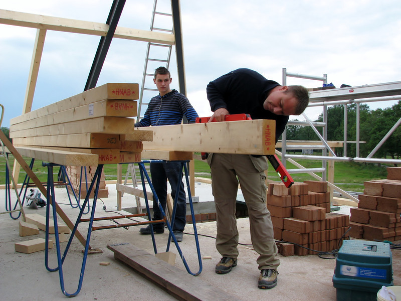 Fitting the roof beams