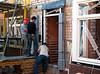 Robert, Frans and Marijn placing heavy parts of the door frame. Weight column=155kg, Easter 2011
