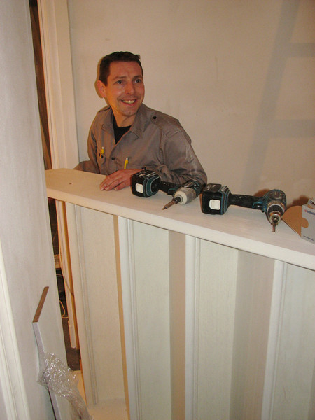 Marc (builder of the stair) is mounting the stair parts