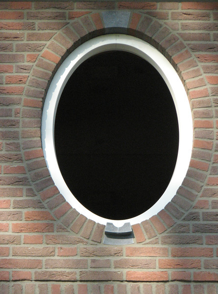Pointed oval window after drying