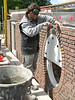 Bricklaying the South wall of Jufferlaan 36