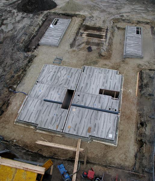 Crane view of the concrete floor bottoms of  Jufferlaan 36/38