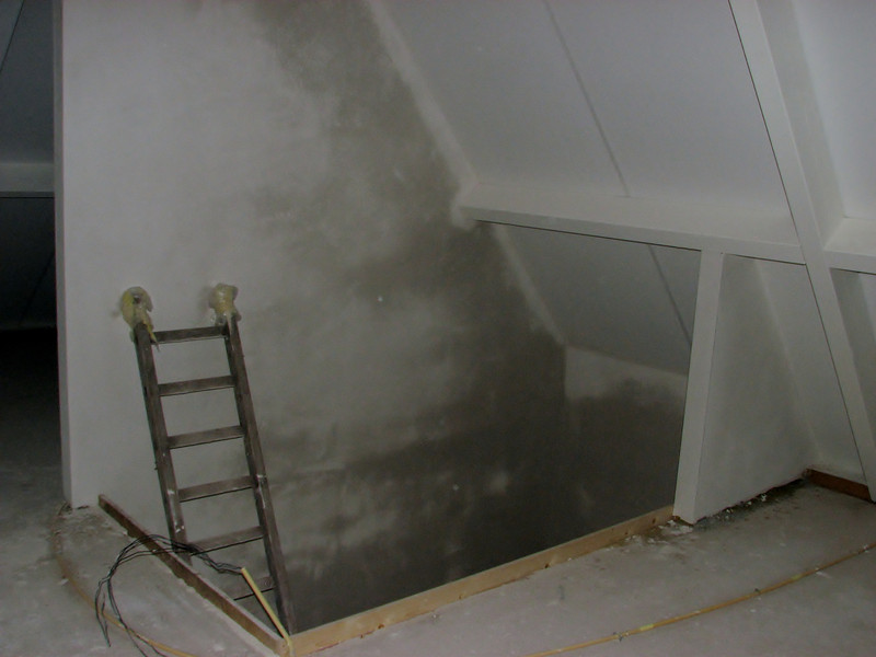 Plastered attic staircase