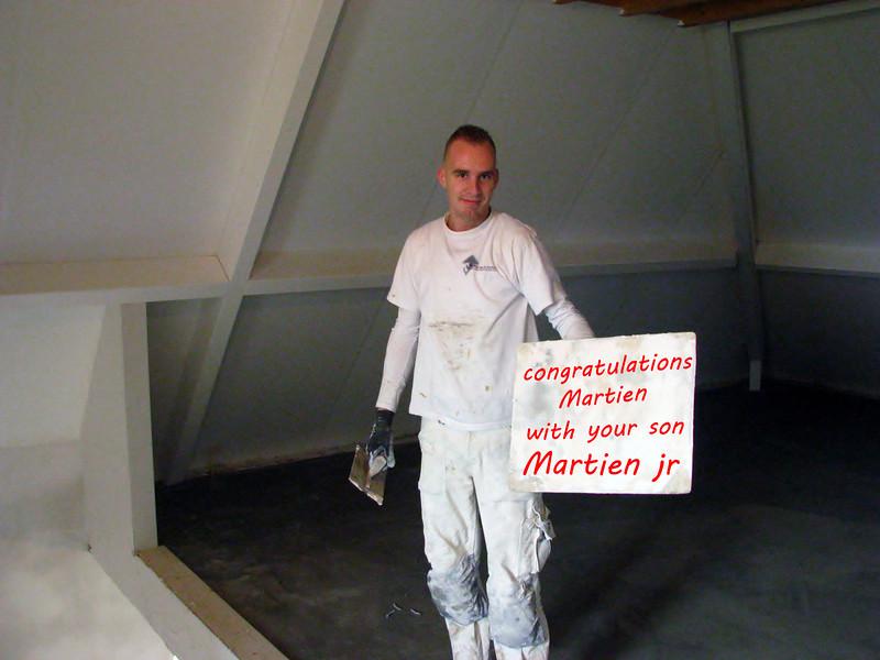 Nov. 17th 2011, plasterer Michael congratulate his brother Martien with his new born son Martien junior.
