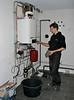 Erick adjusting the central heating