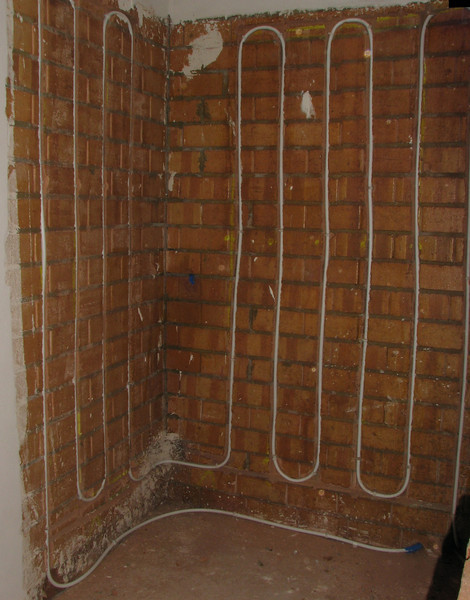 Heating pipes in the badroom walls