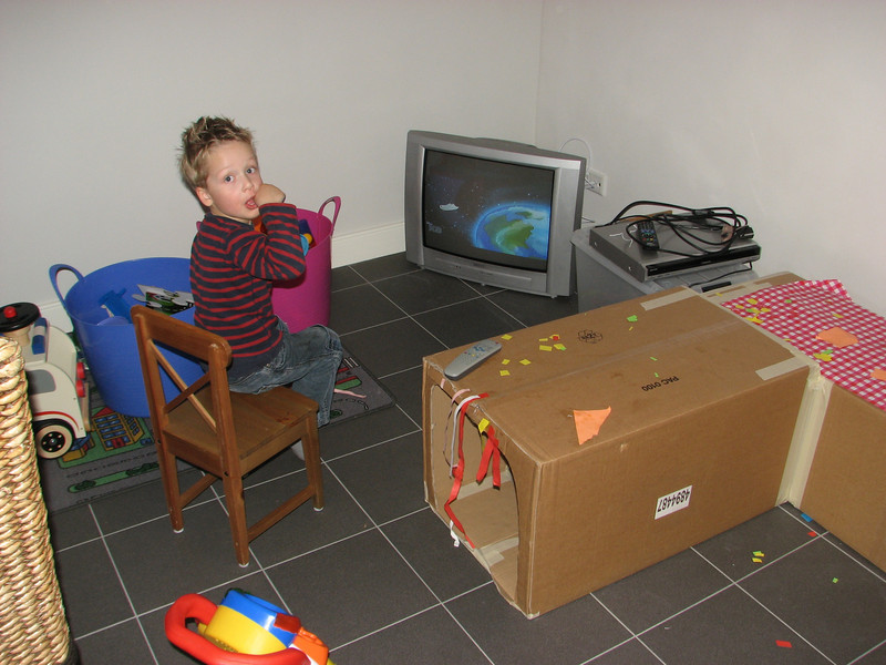 Stijn in his playing room in the cellar