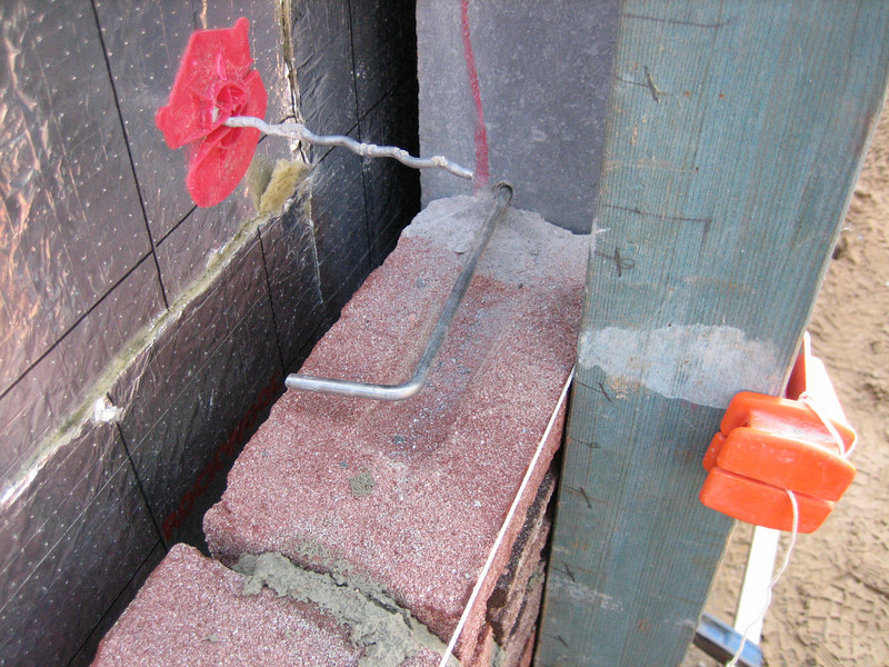 Anchor bluestone. Bricklaying of the side wall
