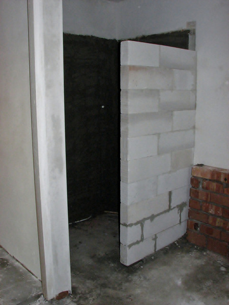 Douche wall before tiling