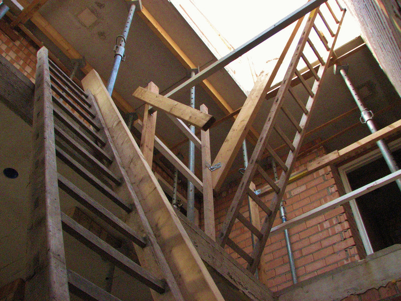 Temporary staircase of the house