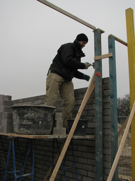 Paul bricklaying the garage