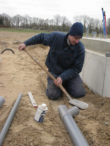 Installation of the sewer system by Erick and  Wilco