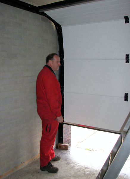 Gino testing the automatic garage door