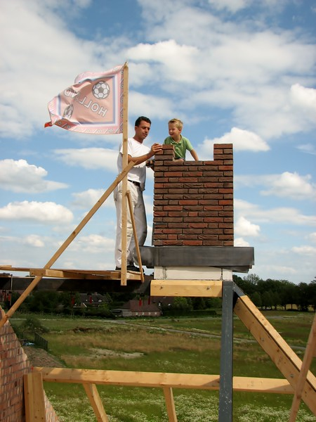Stijn and Robert near the flag. Highest point of the house