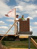 Stijn and Robert near the flag. Highest point of the house, Exciting.....