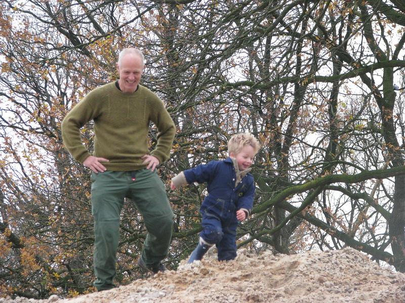 Climbing the hill with granddad Marijn