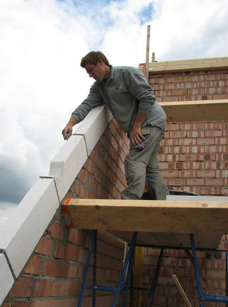 Paul bricklaying the gable