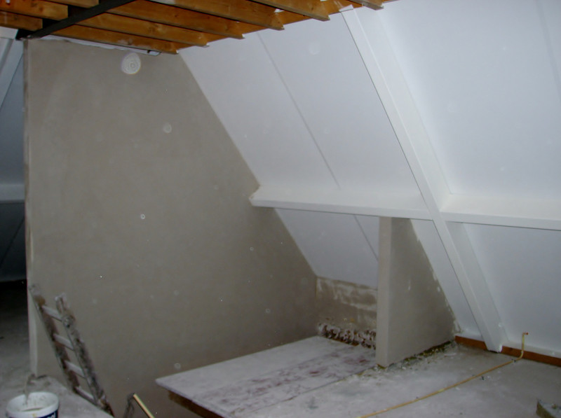 Plastered staircase of the attic