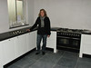 Saskia inspecting the new kitchen