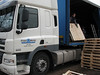 Frans truck with steel beams and pallets