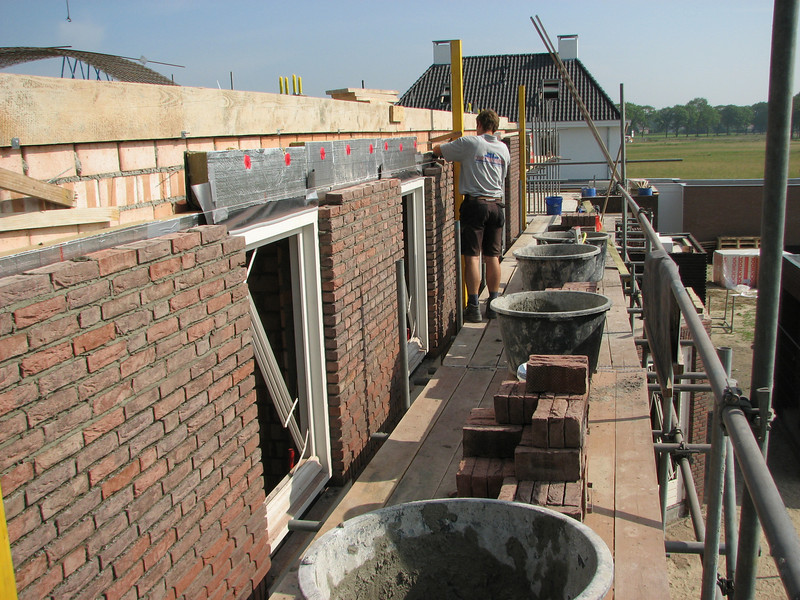Paul bricklaying the East wall