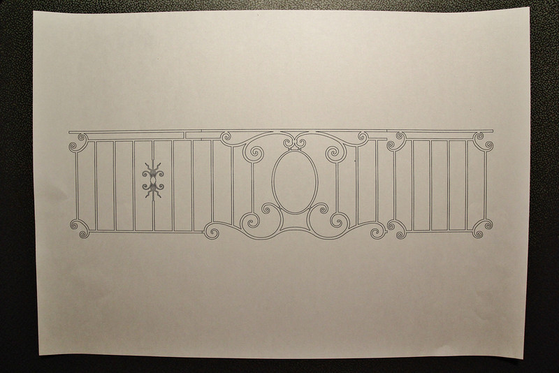 Digital drawing. 3 Parts of the balcony fence