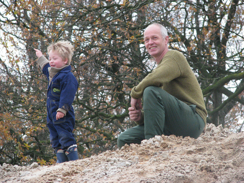 Reaching the summit, climbing the hill with granddad