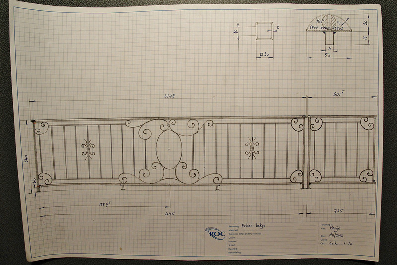 Drawing of the balcony fence, designed by Marijn