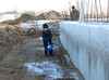 Stijn removing the snow of the cellarwall
